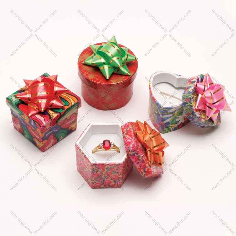 Assorted Paper Hat Boxes with Bow - Box of 48