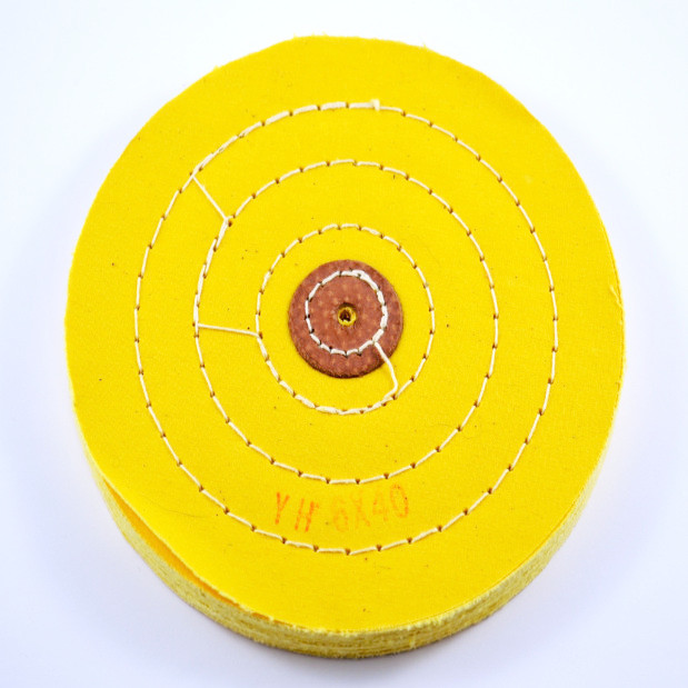 "Chemkote Yellow Buff with Leather Centre 6"" X 40 Ply"