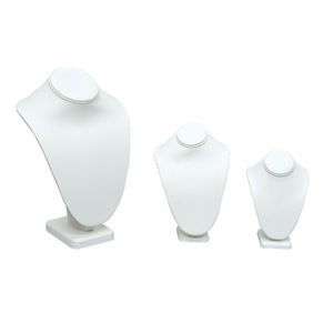 Standing White Leatherette Necklace Busts
