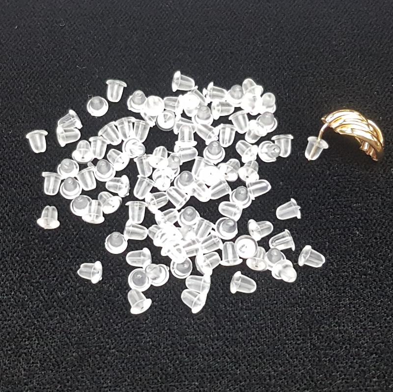 PLB100 Small Plastic Earring Back - 100 Pack