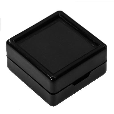 "1 1/2"" Square Black Gem Jar"