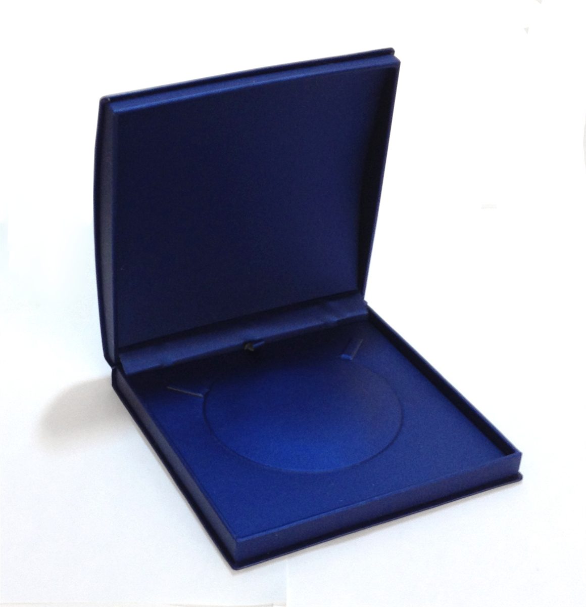 Navy Roll Top Leatherette Large Necklace Box
