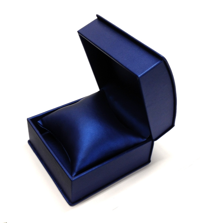 Navy Roll Top Leatherette Watch/Bangle Box with Pillow