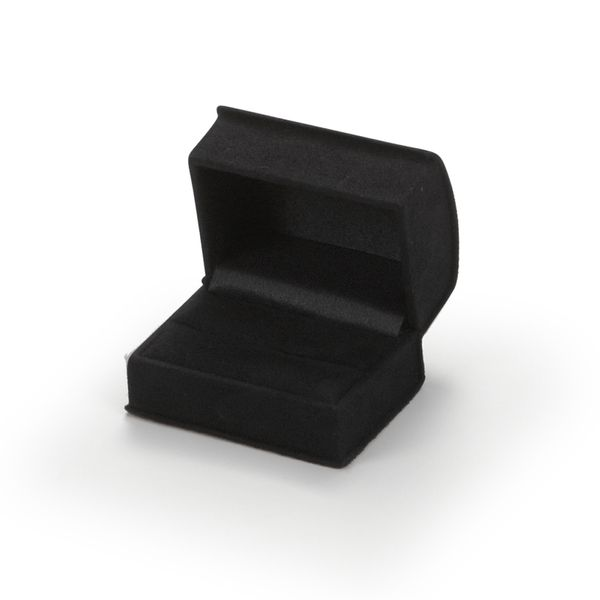 Black Suede Roll Top Double Ring Box