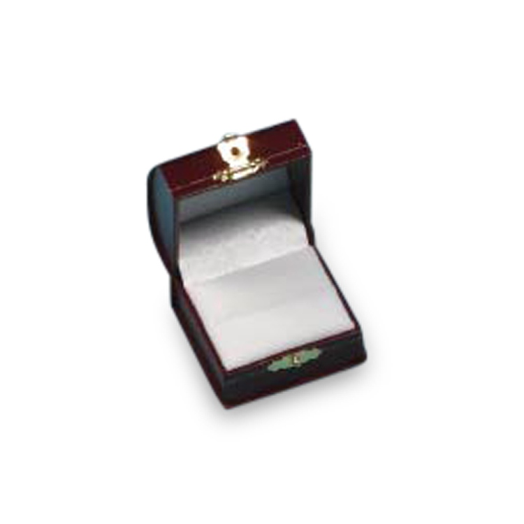 Burgundy Domed Leatherette Ring Box with Clasp