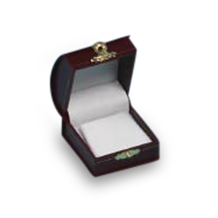 Burgundy Domed Leatherette Earring Box with Clasp