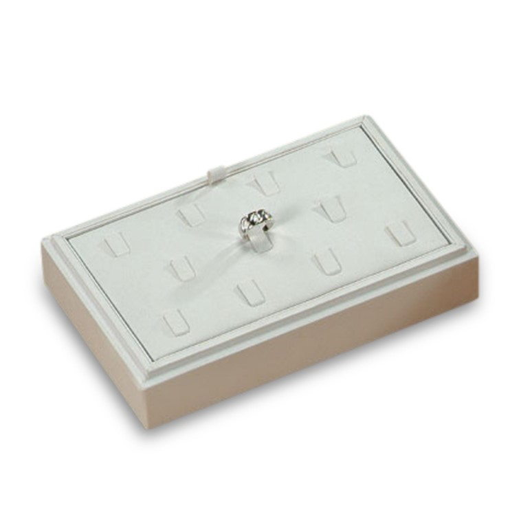11-Ring Clip White Leather Tray