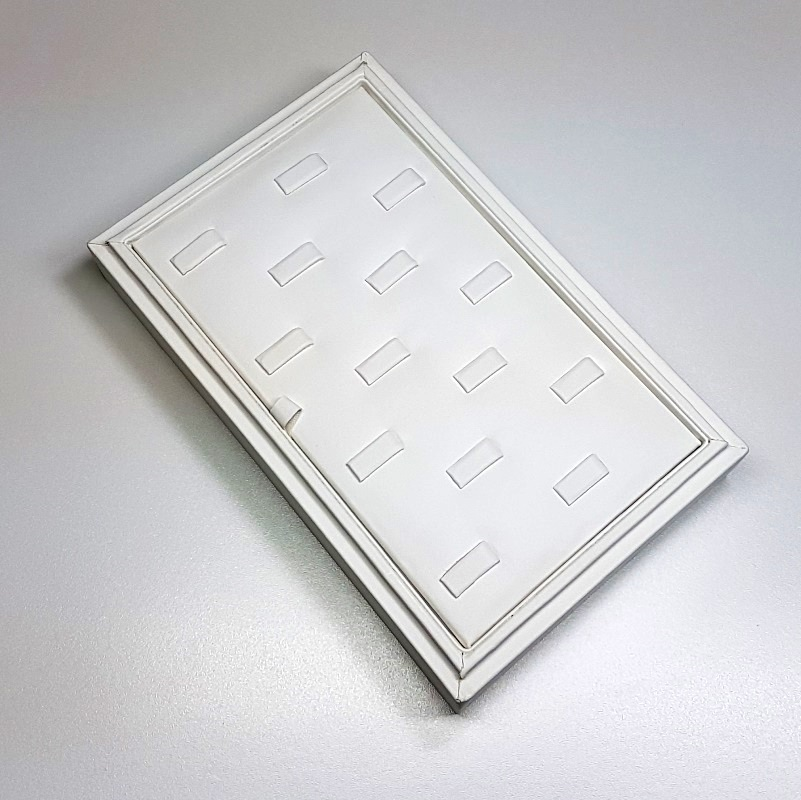 14-Ring Clip White Leatherette Tray