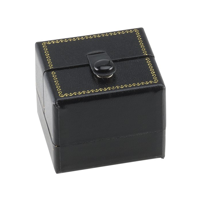 BE3 Black Deluxe Snap-Tab Leatherette Earring Box