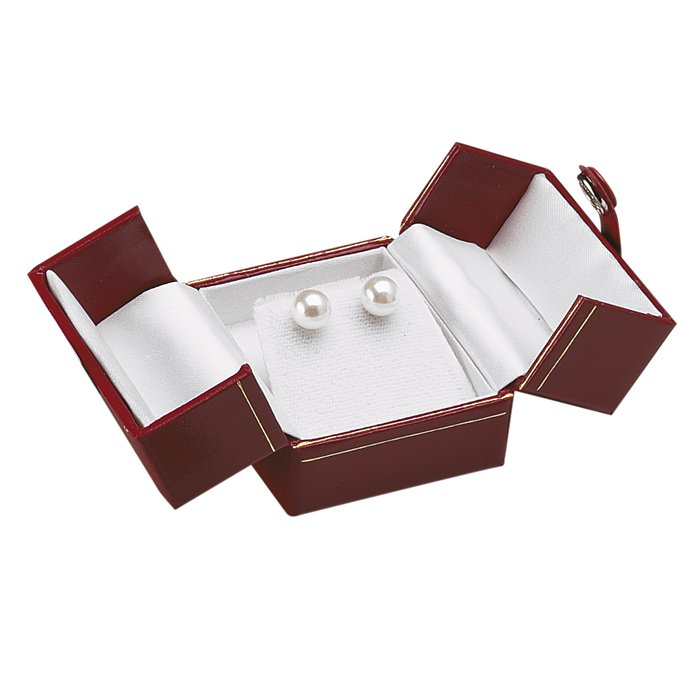 BE3 Red Deluxe Snap-Tab Leatherette Earring Box