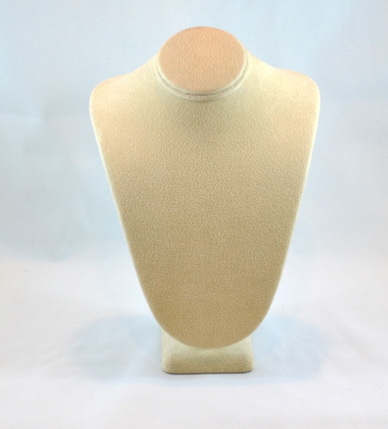Beige Suede Standing Neck Bust Display