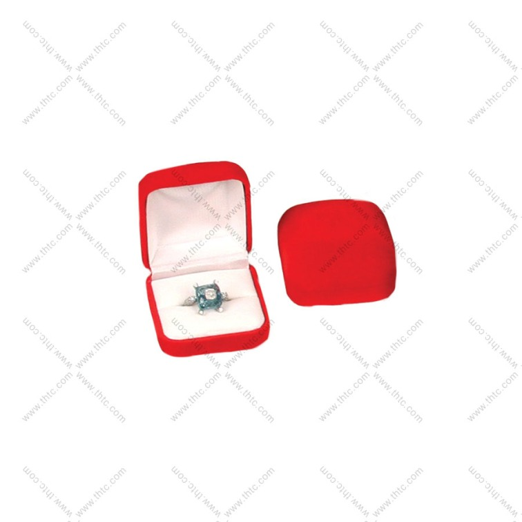 Soft Flocked Velour Earring Box - Red