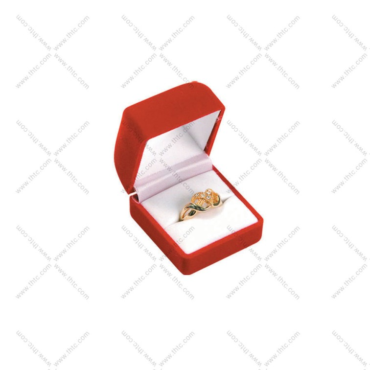 Soft Flocked Velour Ring Box - Red