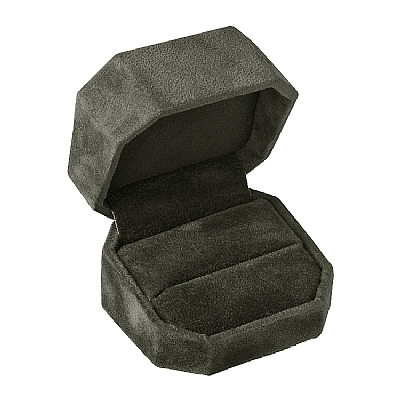Black Suede Cut Corner Ring Box