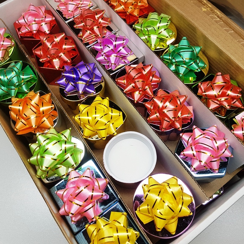 Assorted Metallic Hat Boxes with Bow - Box of 48