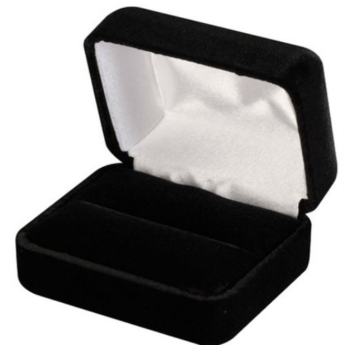 Black Plain Velvet Double Ring Box