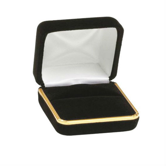 Black Velvet with Gold Rim Double Ring Box