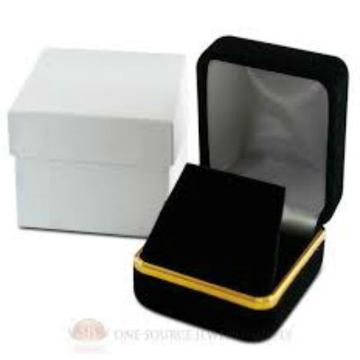 Black Velvet with Gold Rim Earring Box