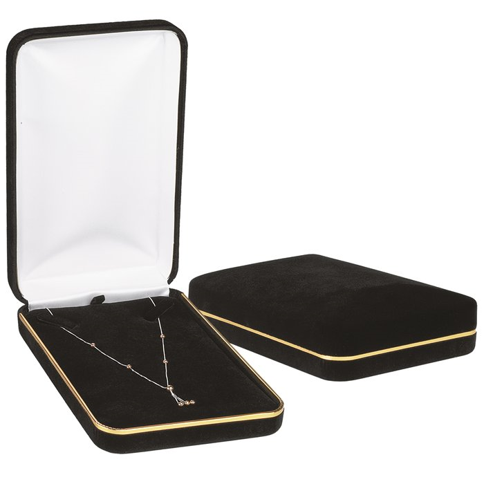 Black Velvet with Gold Rim Necklace Box