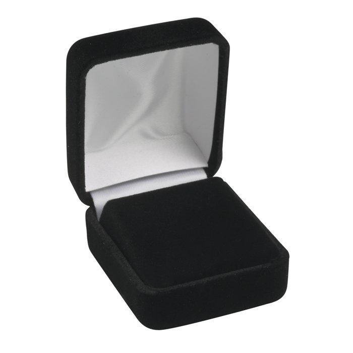 Black Plain Velvet Earring Box